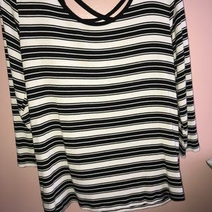 Black and White Striped Top Open Back
